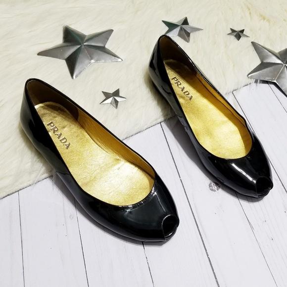74c6e1b8c Prada peep toe flats black patent leather open toe.  M_5b0399ff6bf5a66fda062a66